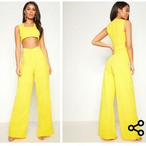 Yellow Cutout Crepe Jumpsuit US size 0